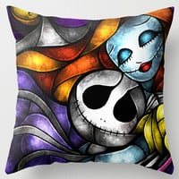 Nightmare Before Christmas Jack And Sally 18x18 inch Soft Glossy Throw Pillow Case