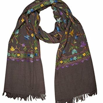 Mogul Women Kashmiri Shawl Wrap Crewel Floral Embroidered Ethnic Scarves Stole