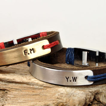 FREE SHIPPING - Personalized Couple Bracelet, Leather Men Bracelet, Men's Leather Bracelet, Brown Leather, Blue-Red Couple Bracelet