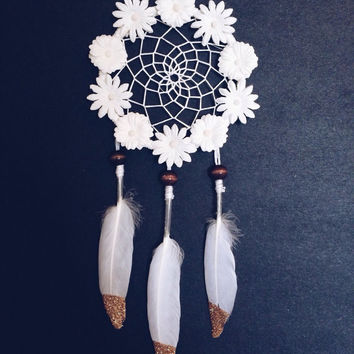 Floral white dreamcatcher/ White Dream Catcher/ Dream Catcher/ Car Dream Catcher/ Car accessories/ small Dream Catcher