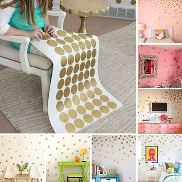 Gold Polka Dots Wall Sticker Nursery Kid Decal Vinyl Art Living Room Home Decor Vinilos Decorativos Para Paredes Stickers Muraux