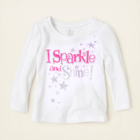 baby girl - graphic tees - sparkle shine graphic tee | Children's Clothing | Kids Clothes | The Children's Place