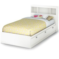 South Shore Spark Collection Twin Mates Bed, Pure White
