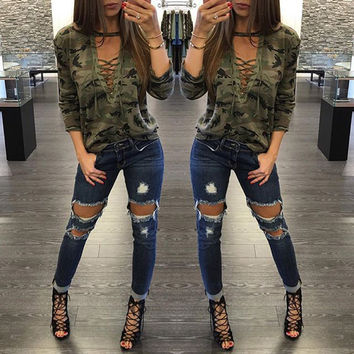 2017 Womens Blouses Camouflage Halter Top Pullover Shirt Ladies Loose Bandege Lace Up Shirt Harajuku Tracksuits Female Sudaderas