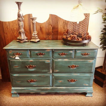 Hand Painted Dresser, 6 Drawer Dresser, Chalk Painted Dresser, Patina Dresser, Blue Dresser, Green Dresser, Dark Worn Turquoise Dresser