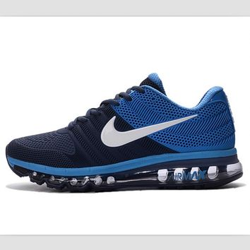 NIKE fashion casual shoes sports shock absorbing running shoes Dark Blue (white hook)