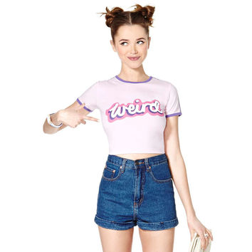 Light Purple Graphic Print Short Sleeve Cropped Top