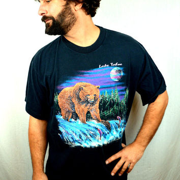 Vintage 80s 90s Bear Night Black Tee Shirt
