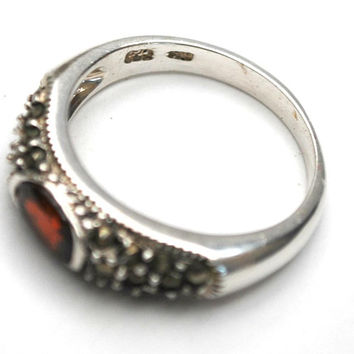 Garnet  sterling band Ring  - silver with pyrite silver marcasite size 8 ring red gemstone  gift for her