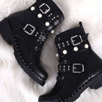 Wild Diva Lounge Studded Pearl Double Straps Combat Boots | UrbanOG
