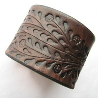 Wide Brown Leather Cuff Bracelet - Floral Vine