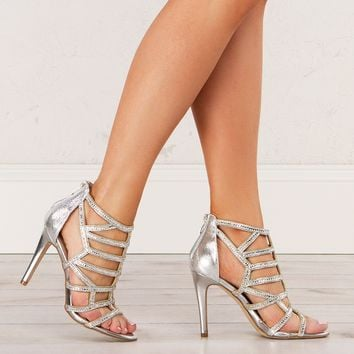 Strappy Heeled Sandals in Silver