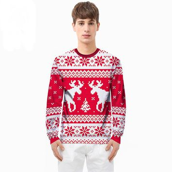 Christmas couple clothing 2017 autumn and winter new cartoon double reindeer printing 3D sweater