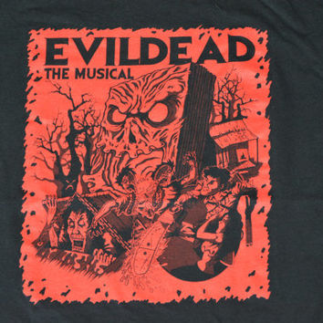 Vintage Black Evil Dead The Musical T-Shirt - Retro Cotton Tee Size L Large
