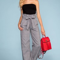 Manhattan High Waisted Plaid Paperbag Pants