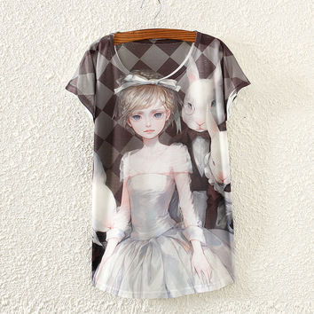 White Short Sleeve Monsieur Rabbit&Girl T-Shirt