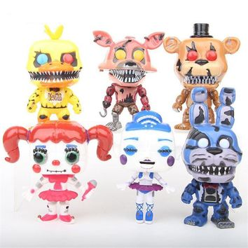 6 Pcs/Set Anime Five Night At Freddy Action Figure With Sound  Bonnie Bear Foxy Pvc Model Figma Freddy Toys Children Gifts