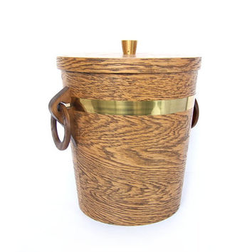 Vintage Ice Bucket Mid Century Modern Brown Gold Teak Wood Brass Aluminum Wine Champagne Cooler Serving Party Barware