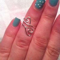 Double Hearts Silver Midi Ring