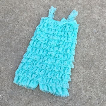 Toddler romper, girls romper,baby girl clothes,birthday outfit,1st birthday,baby romper,baby girl,aqua, blue,lace,outfit,photo prop, Onesuit
