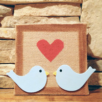 6x6in Rustic Hand Painted Love Birds Burlap Canvas Wall Decor
