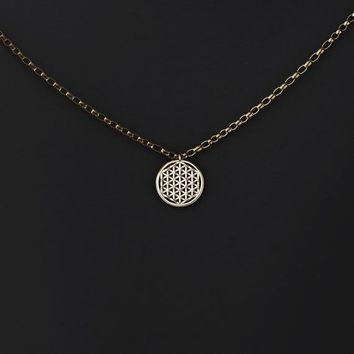 Small 3D-Printed Flower of Life Pendant Necklace