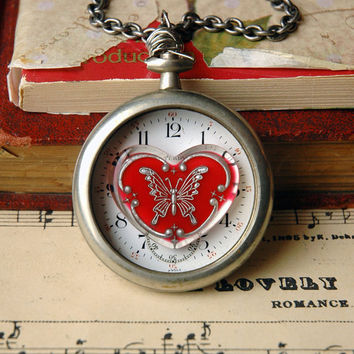 Steampunk Necklace Silver Pocket Watch with Red by bionicunicorn