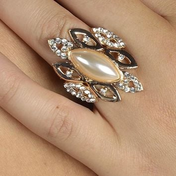 Faux Pearl Crystal Studded Eye Shaped Cluster Ring