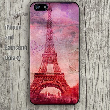 cartoon Eiffel Tower heart iphone 6 6 plus iPhone 5 5S 5C case Samsung S3,S4,S5 case Ipod Silicone plastic Phone cover Waterproof
