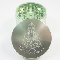Buddha: 4 Part Black Metal Herb Grinder