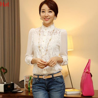 Crochet Blouse Lace Chiffon Tops Woman Lady Clothing Autumn Blusas Long Sleeve Stand Collar Blouses White Shirts SV000627