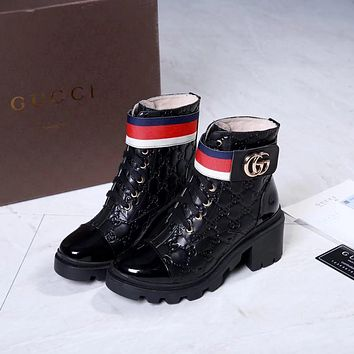 GUCCI Women Fashion Casual Sneaker sport running white Shoes Leather high heels womens black boots  Best quality