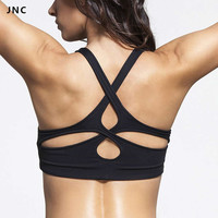 Popular Women's Black Padded Sports Bra Crisscross Yoga Sports Top Push Up Under
