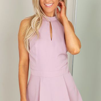 High Neck Pleated Romper Mauve