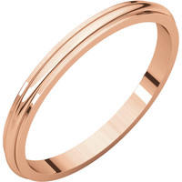 14k Rose-Pink Gold 2mm Half Round Edge Wedding Band Ring - Bridal Jewelry: RingSize: 00