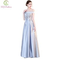 New Evening Dress The Bride Banquet Elegant Simple Grey Satin Floor-length Prom Party Gown Custom Formal Dresses