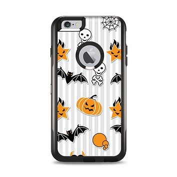 The Halloween Icons Over Gray & White Striped Surface  Apple iPhone 6 Plus Otterbox Commuter Case Skin Set