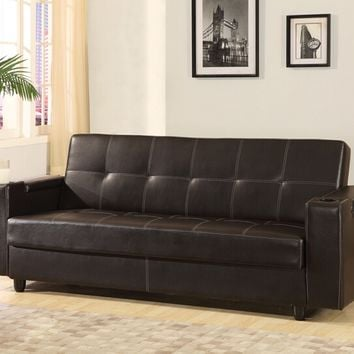 Acme 57089 Sanya brown faux leather futon sofa bed