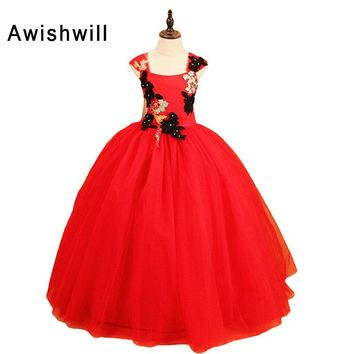 Photography Red Pageant Dresses For Girls Appliques Beaded Tulle Flower Girl Dresses Ball Gowns Girls Communion Dresses 2018