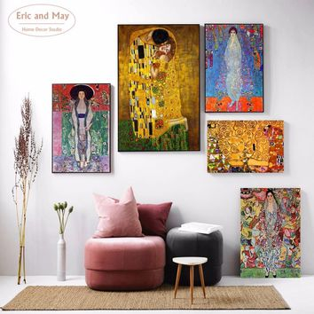Gustav Klimt Kiss Classic Art Painting Canvas Art Print Poster Wall Pictures For Living Room Home Decoration Wall Decor No Frame