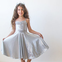 Ballerina Silver midi dress, Metallic girls party dress