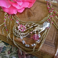 He Loves Me...Vintage Assemblage Pink and Clear Crystal Necklace Romantic One of a Kind Boho Victorian Wedding