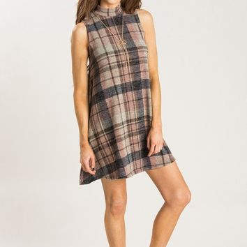 Melanie Mauve Plaid Sleeveless Dress