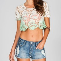 FULL TILT Womens Dip Dye Crochet Crop Top