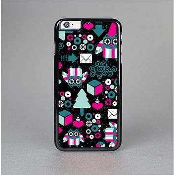 The Pink & Teal Owl Collaged Vector Shapes Skin-Sert for the Apple iPhone 6 Plus Skin-Sert Case