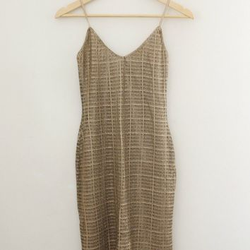 Gold Mesh Fitted Dress / Spaghetti Strap / Party Dress by Forever 21 - Sz Sm