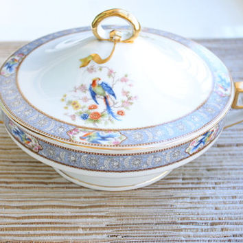 Bavaria Tirschenreuth Bird of Paradise Round Covered Vegetable Dish / Florida Model #4241 / Soup Tureen / German Dinnerware
