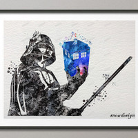 Darth vader doctor who tardis Original watercolor wall art canvas painting Modern Movie poster print Pictures living room decor
