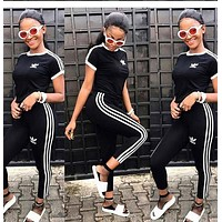 ADIDAS stripe sports suit Shirt Top Tee Pants Trousers Two Piece Suit