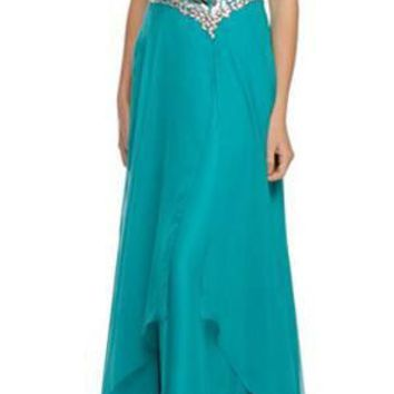 Floor Length A Line Strapless Layered Teal Green Prom Dress